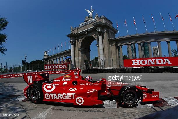 Tony Kanaan of Brazil drives the Target Chip Ganassi Racing Dallara Chevrolet during practice for the Verizon IndyCar Series Honda Indy Toronto on...