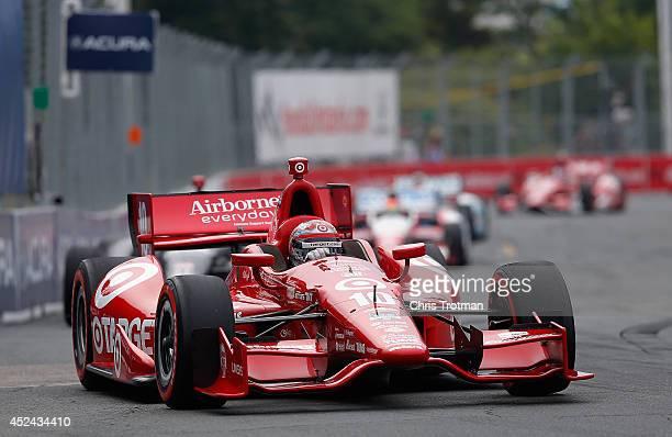 Tony Kanaan of Brazil drives the Target Chip Ganassi Racing Dallara Chevrolet during the Verizon IndyCar Series Honda Indy Toronto Race 1 on the...