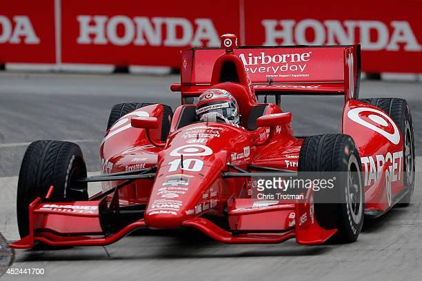 Tony Kanaan of Brazil drives the Target Chip Ganassi Racing Dallara Chevrolet in the Verizon IndyCar Series Honda Indy Toronto Race 2 on the Streets...