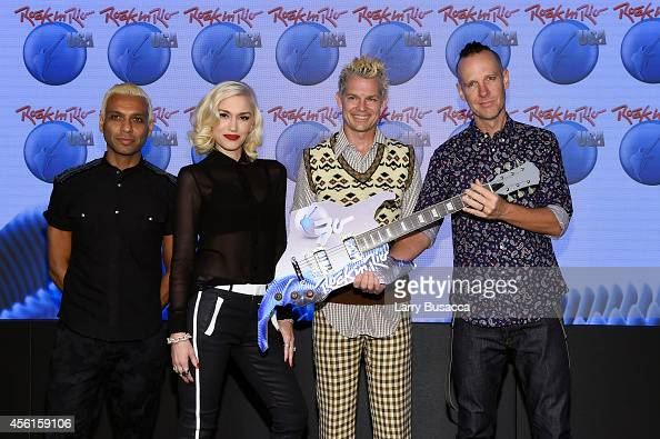 Tony Kanal Gwen Stefani Tom Dumont and Adrian Young of No Doubt pose onstage during the Rock In Rio USA event in Times Square on September 26 2014 in...