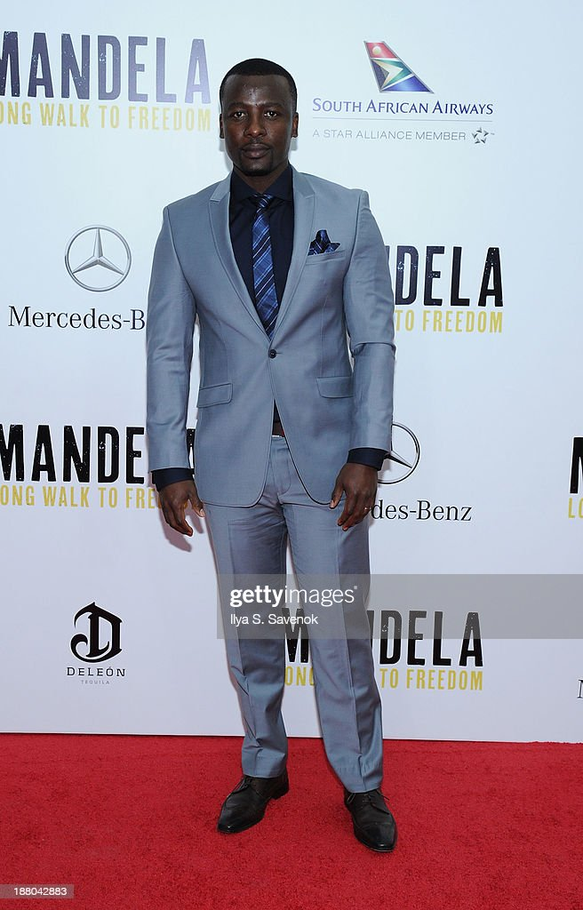 Tony Kgoroge attends the New York premiere of 'Mandela: Long Walk To Freedom' hosted by The Weinstein Company, Yucaipa Films and Videovision Entertainment, supported by Mercedes-Benz, South African Airways and DeLeon Tequila at Alice Tully Hall, Lincoln Center on November 14, 2013 in New York City.