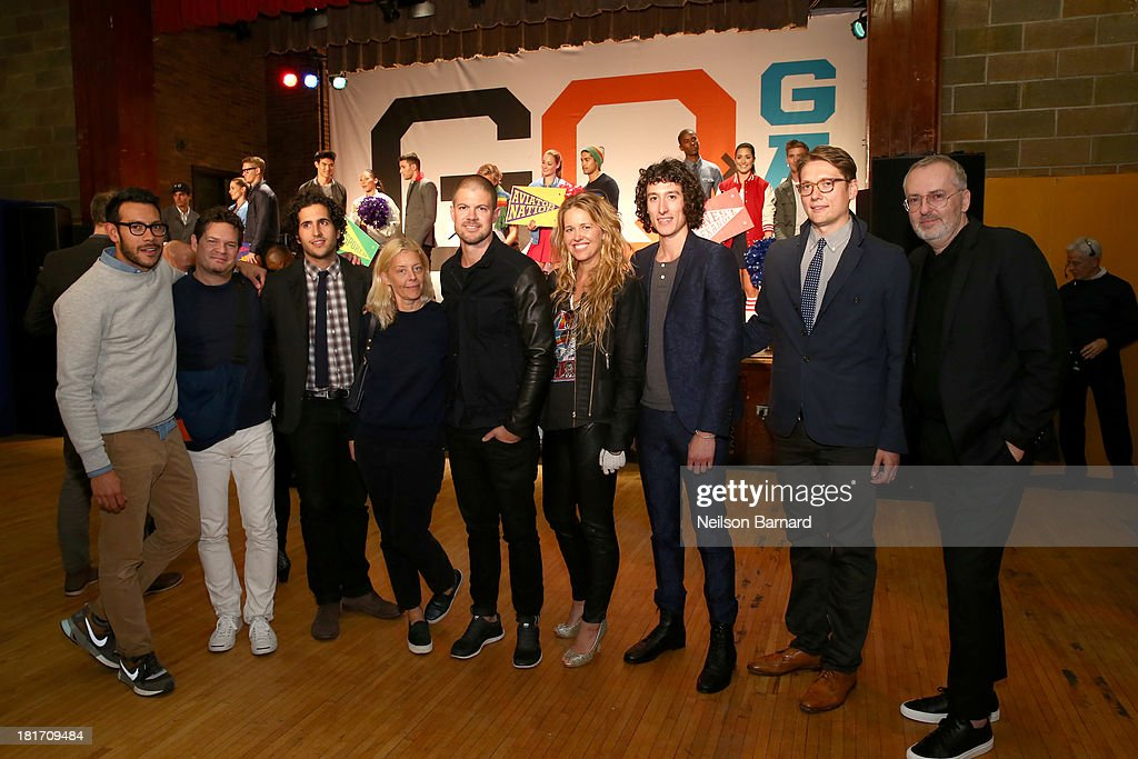 Tony Kretten, Sam Fayed, Matt Baldwin, Paige Mycoskie of Aviator Nation, Liam Fayed, Ernest Alexander Sabine, and GQ Creative Director <a gi-track='captionPersonalityLinkClicked' href=/galleries/search?phrase=Jim+Moore+-+Creative+Director&family=editorial&specificpeople=14713491 ng-click='$event.stopPropagation()'>Jim Moore</a> attend the GQ & Gap event to celebrate 2013 Best New Menswear Designers Collaboration on September 23, 2013 in New York City.