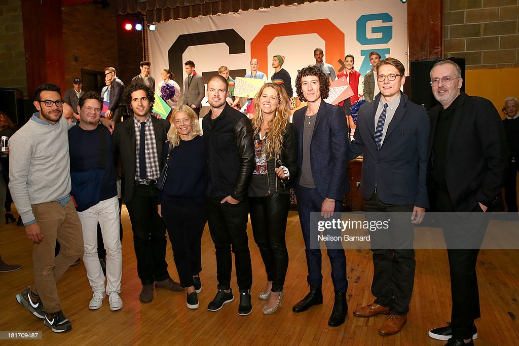 Tony Kretten, Sam Fayed, Matt Baldwin, Paige Mycoskie of Aviator Nation, Liam Fayed, Ernest Alexander Sabine, and GQ Creative Director Jim Moore attend the GQ & Gap event to celebrate 2013 Best New Menswear Designers Collaboration on September 23, 2013 in New York City.