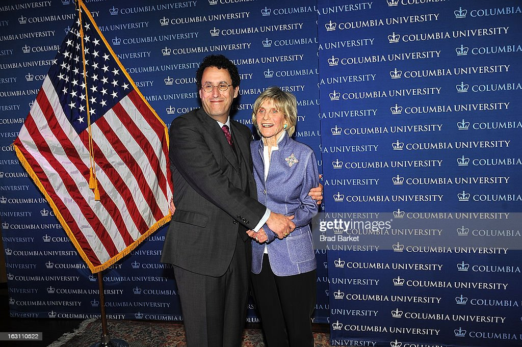 Tony Kushner(L) and Ambassador Jean Kennedy Smith attend the 2013 Edward M. Kennedy Prize For Drama Award Reception at Columbia University on March 4, 2013 in New York City.