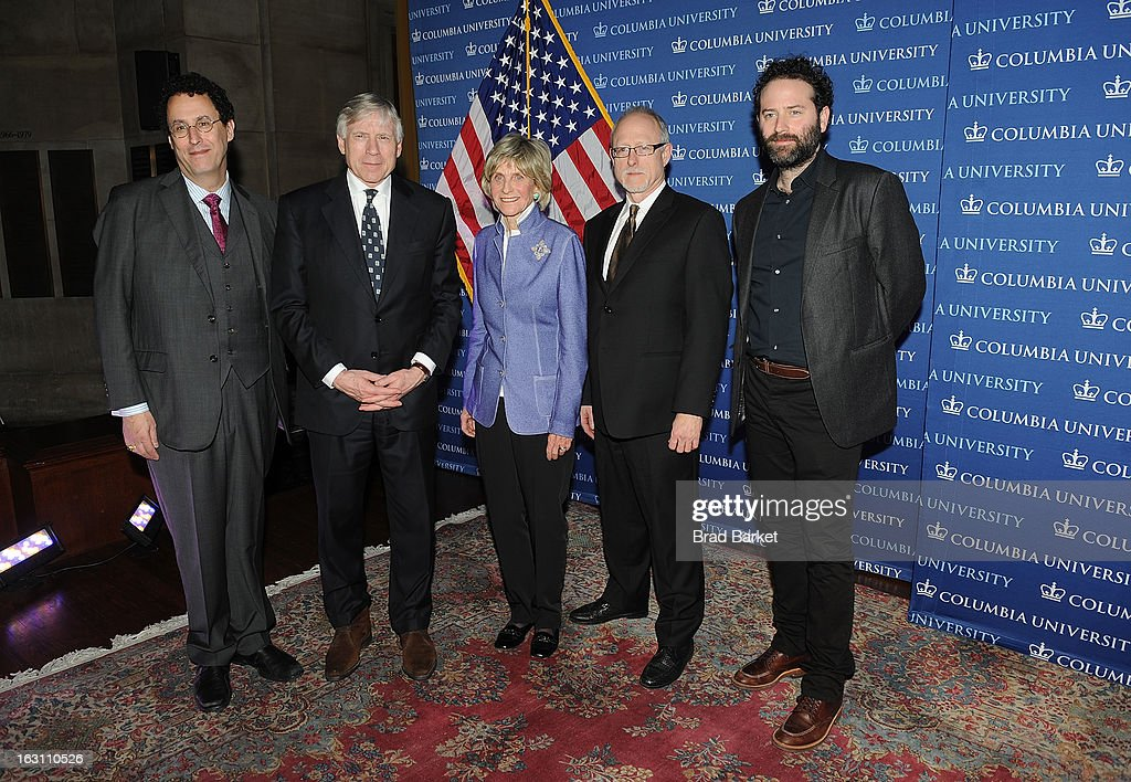 Tony Kushner, Lee C. Bollinger, Jean Kennedy Smith, Robert Schenkkan and Dan O'Brien attend the 2013 Edward M. Kennedy Prize For Drama Award Reception at Columbia University on March 4, 2013 in New York City.