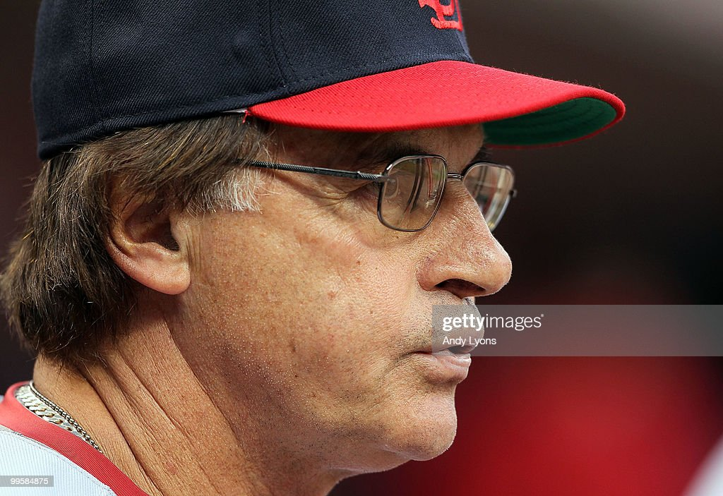 Tony La Russa the Manager of the St. Louis Cardinals is pictured during the Gillette Civil Rights Game against the Cincinnati Reds at Great American Ball Park on May 15, 2010 in Cincinnati, Ohio.