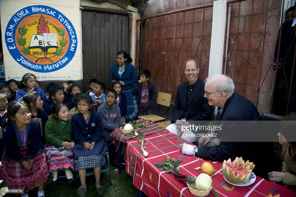 Tony Lake Executive Director of the United Nations Children's Fund speaks with children during a visit to a scholl in Nimasac village Totonicapan...