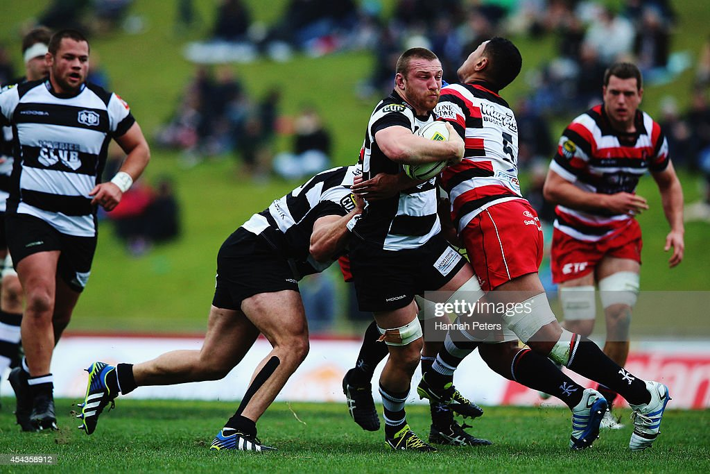Tony Lamborn of the Hawke's Bay Magpies charges forward during the ITM Cup rugby game between the Counties Manukau Steelers and the Hawke's Bay Magpies at ECOLight Stadium on August 30, 2014 in Pukekohe, New Zealand.