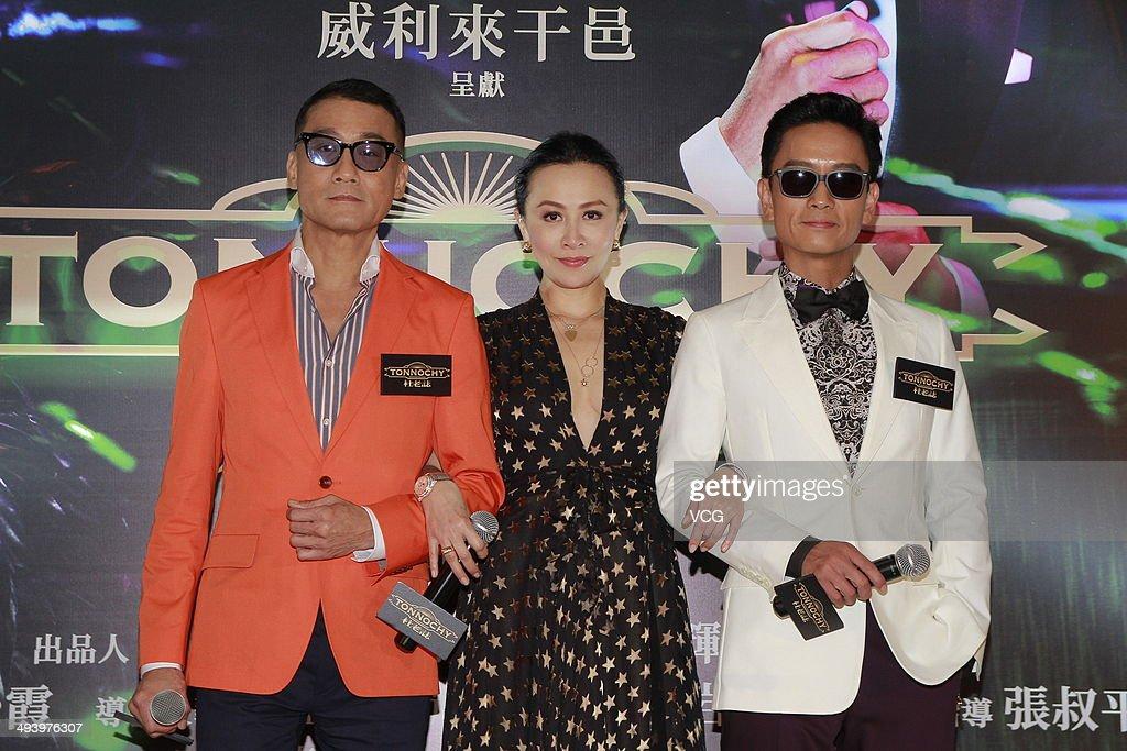 Tony Leung Carina Lau and Tse Kwan Ho attend drama 'Tonnochy' press conference on May 26 2014 in Hong Kong China
