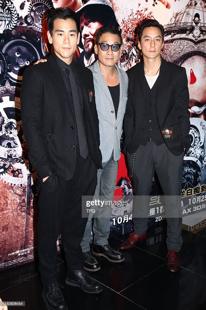 Tony Leung, Eddie Peng and Daniel Wu attends press conference of Taichi 0 on September 26, 2012 in Hong Kong, China.