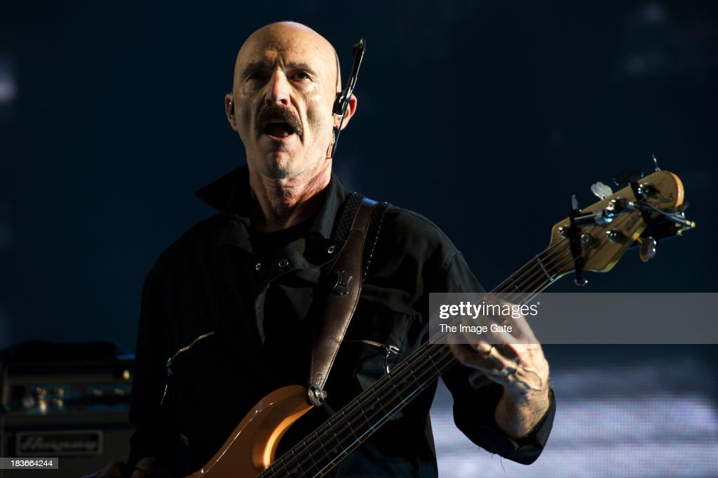 Tony Levin performs with during Peter Gabriel's 'So' Back To Front tour at the Arena on October 8, 2013 in Geneva, Switzerland.