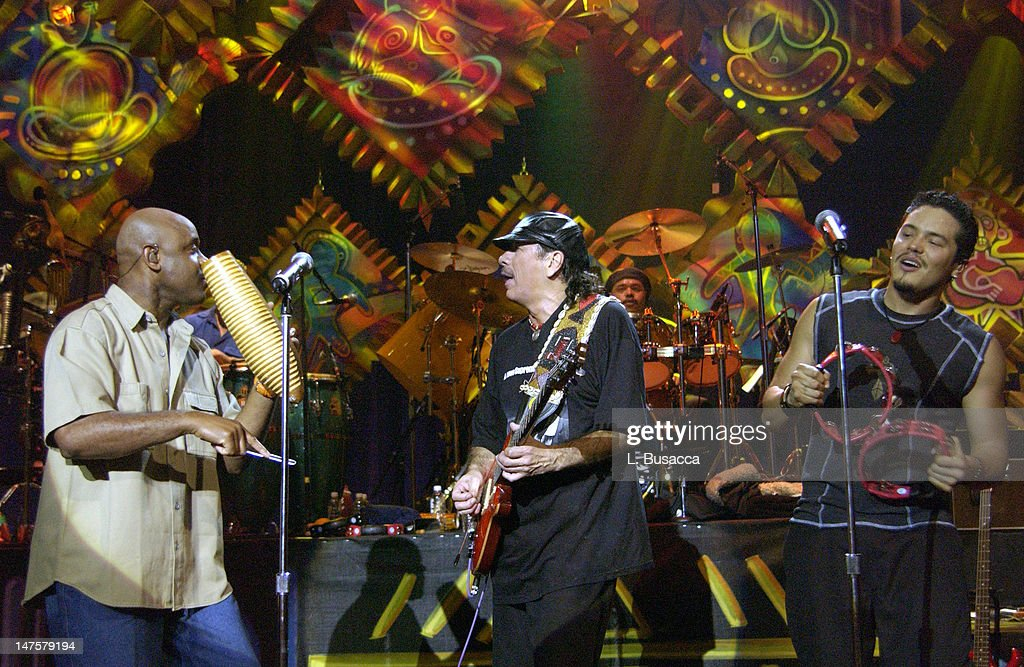 <a gi-track='captionPersonalityLinkClicked' href=/galleries/search?phrase=Tony+Lindsay&family=editorial&specificpeople=3435613 ng-click='$event.stopPropagation()'>Tony Lindsay</a>, Carlos Santana and Andy Vargas during Carlos Santana and Friends Play A&E's 'Live By Request' at Sony Studios in New York, NY, United States.
