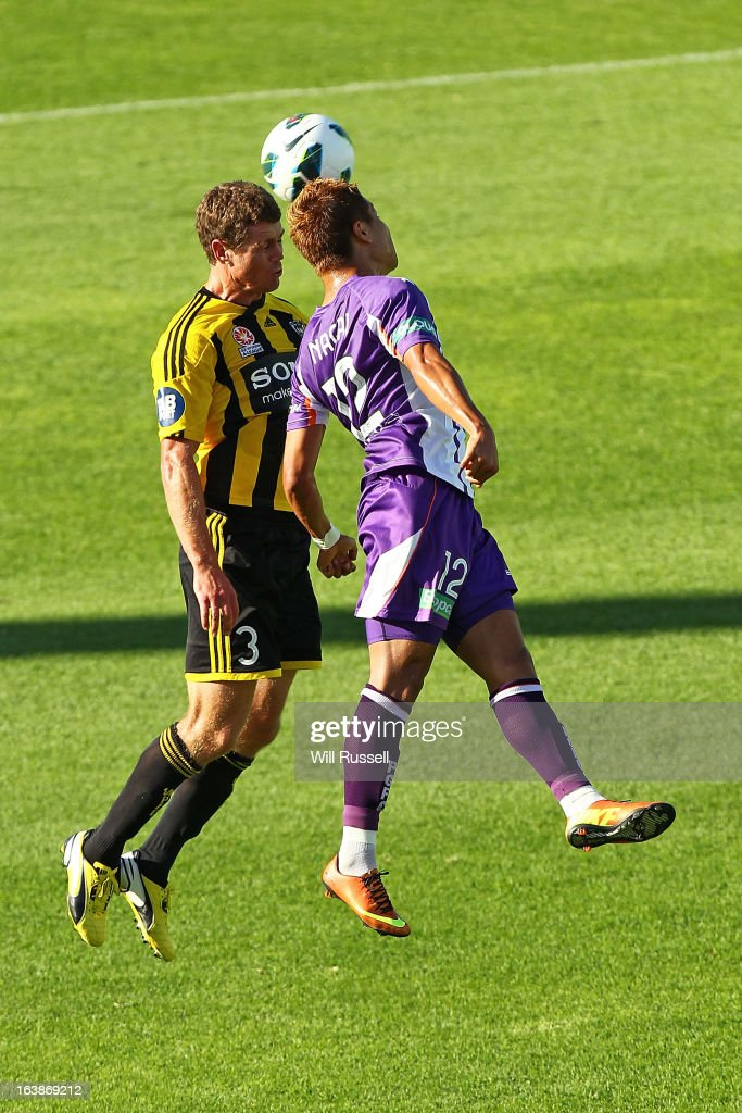 Tony Lochhead of the Wellington Phoenix tries to head the ball during the round 25 A-League match between the Perth Glory and the Wellington Phoenix at nib Stadium on March 17, 2013 in Perth, Australia.