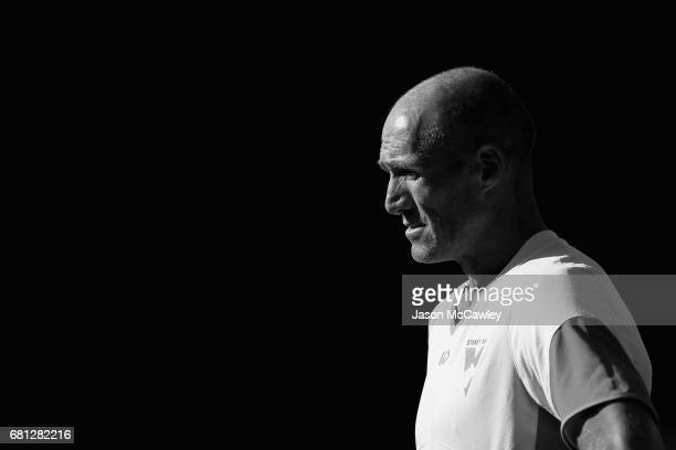 Tony Lockett of the Swans looks on during a Sydney Swans AFL training session at Sydney Cricket Ground on May 10 2017 in Sydney Australia