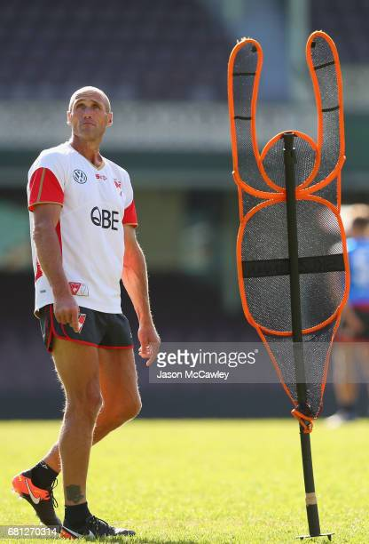 Tony Lockett watches on during a Sydney Swans AFL training session at Sydney Cricket Ground on May 10 2017 in Sydney Australia