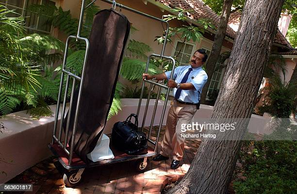Tony Marquez is the only bellhop in the US to get a 5–star rating from the Mobil hotel rating service Here he's seen in action at the Hotel Bel–Air...