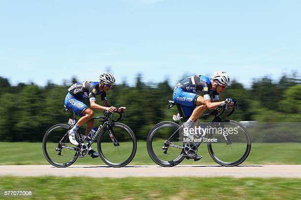 Tony Martin of Germany alongside Julian Alaphilippe of France and EtixxQuickStep during a breakaway during the 209 kms stage 16 of Le Tour de France...