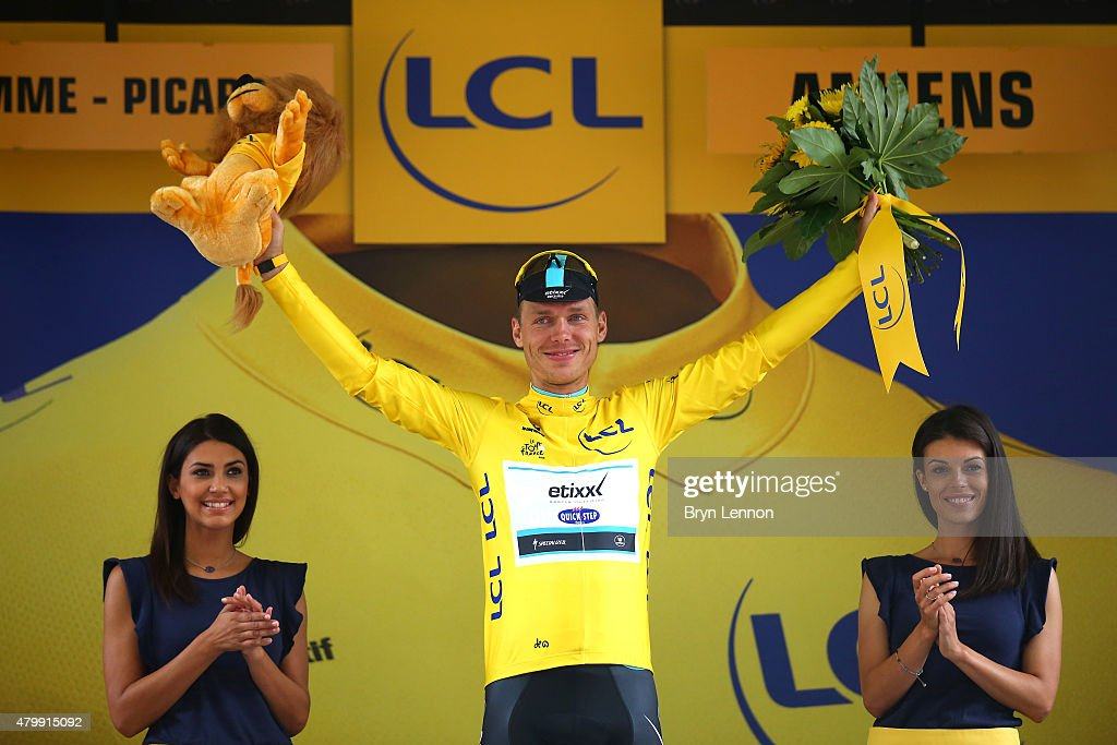<a gi-track='captionPersonalityLinkClicked' href=/galleries/search?phrase=Tony+Martin+-+Cyclist&family=editorial&specificpeople=5399396 ng-click='$event.stopPropagation()'>Tony Martin</a> of Germany and Etixx-Quick Step retains the yellow jersey following stage five of the 2015 Tour de France, a 189.5km stage between Arras and Amiens on July 8, 2015 in Amiens, France.
