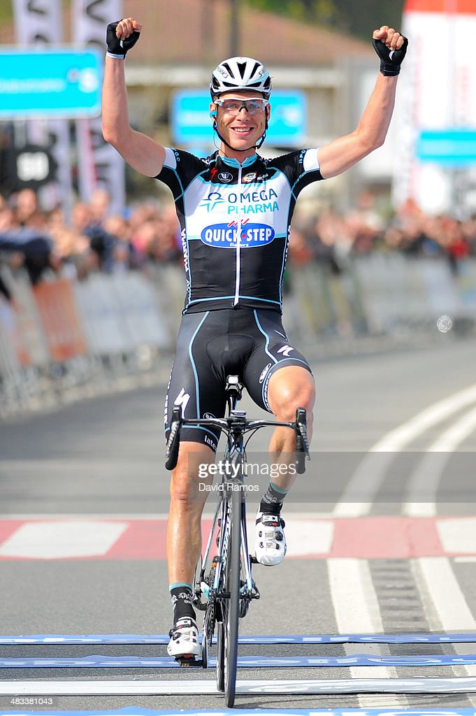 <a gi-track='captionPersonalityLinkClicked' href=/galleries/search?phrase=Tony+Martin+-+Cyclist&family=editorial&specificpeople=5399396 ng-click='$event.stopPropagation()'>Tony Martin</a> of Germany and Omega Pharma Quick-Step team celebrates winning Stage Two of Vuelta al Pais Vasco between Ordizia and Urdax on April 8, 2014 in Urdax, Spain.
