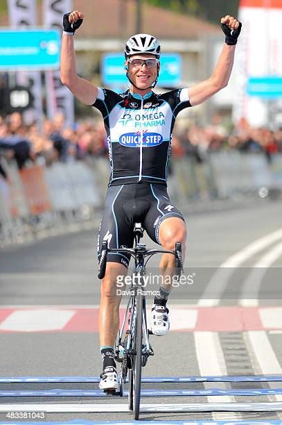 Tony Martin of Germany and Omega Pharma QuickStep team celebrates winning Stage Two of Vuelta al Pais Vasco between Ordizia and Urdax on April 8 2014...