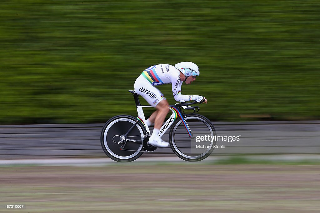 <a gi-track='captionPersonalityLinkClicked' href=/galleries/search?phrase=Tony+Martin+-+Cyclist&family=editorial&specificpeople=5399396 ng-click='$event.stopPropagation()'>Tony Martin</a> of Germany and Omega Pharma-Quick Step on his way to fifth position during the 5.57km Prologue stage of the Tour de Romandie on April 29, 2014 in Ascona, Switzerland.