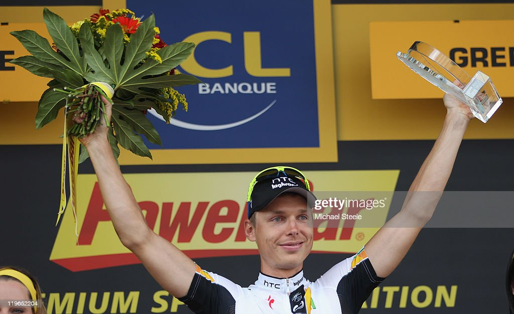 Tony Martin of Germany and Team HTC Highroad retains the Green Points jersey after the Individual Time Trial Stage 20 of the 2011 Tour de France on July 23, 2011 in Grenoble, France.