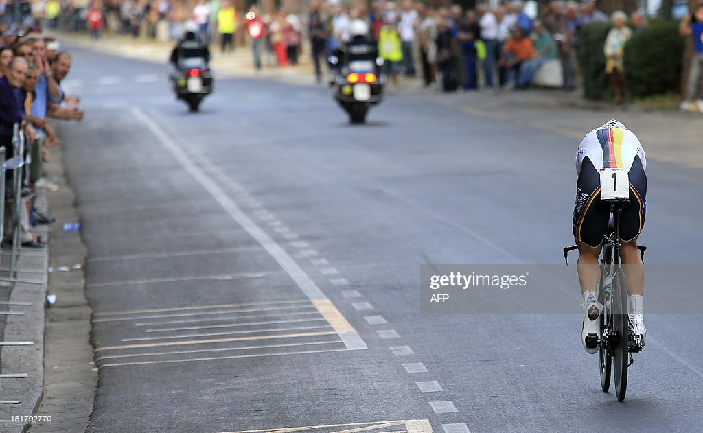 Tony Martin of Germany competes in the Elite Men's Time Trial of the UCI Road World Championships on September 25, 2013 in Florence, Italy. Tony Martin of Germany won the race ahead of Bradley Wiggins of Great Britain and Fabian Cancellara of Switzerland.