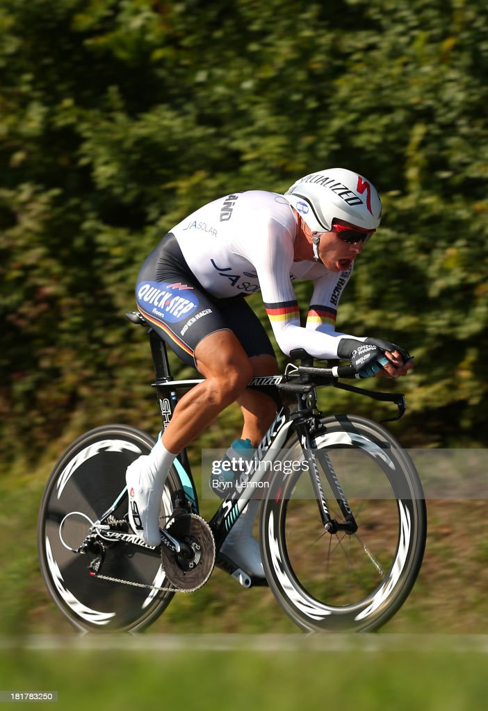<a gi-track='captionPersonalityLinkClicked' href=/galleries/search?phrase=Tony+Martin+-+Cyclist&family=editorial&specificpeople=5399396 ng-click='$event.stopPropagation()'>Tony Martin</a> of Germany in action during the Elite Men's Time Trial, from Montecatini Terme to Florence on September 25, 2013 in Florence, Italy.