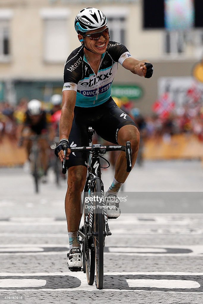 <a gi-track='captionPersonalityLinkClicked' href=/galleries/search?phrase=Tony+Martin+-+Cyclist&family=editorial&specificpeople=5399396 ng-click='$event.stopPropagation()'>Tony Martin</a> of Germany riding for Etixx-QuickStep celebrates as he wins stage four of the 2015 Tour de France from Seraing, Belgium to Cambrai, France on July 7, 2015 in Cambrai, France.