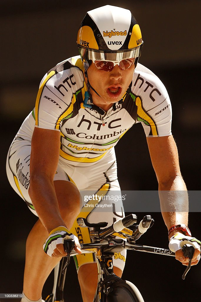 Tony Martin of Germany, riding for HTC-Columbia rides on the course during the individual time trial in stage seven of the Tour of California on May 22, 2010 in Los Angeles, California. Martin won stage seven ahead of teammate Michael Rogers by 22 seconds.
