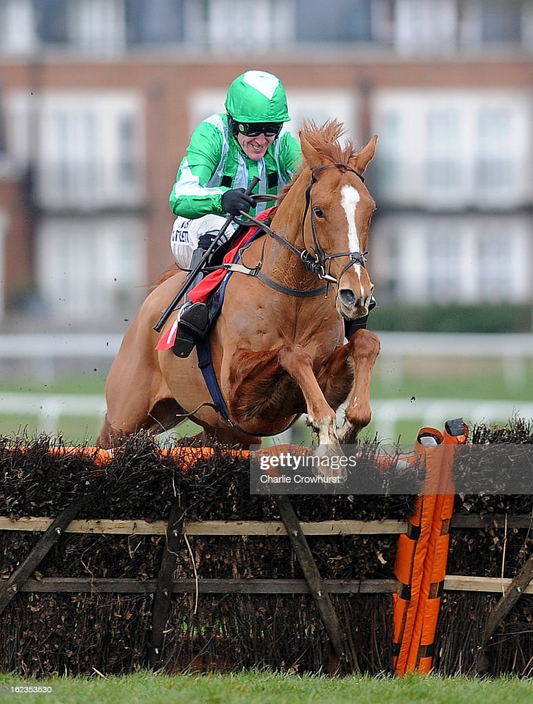 Tony McCoy jumpes the last hurdle on Shotavodka to win The Chris Baker's 40th birthday hurdle race at Sandown Park racecourse on February 22, 2013 in Esher, England.