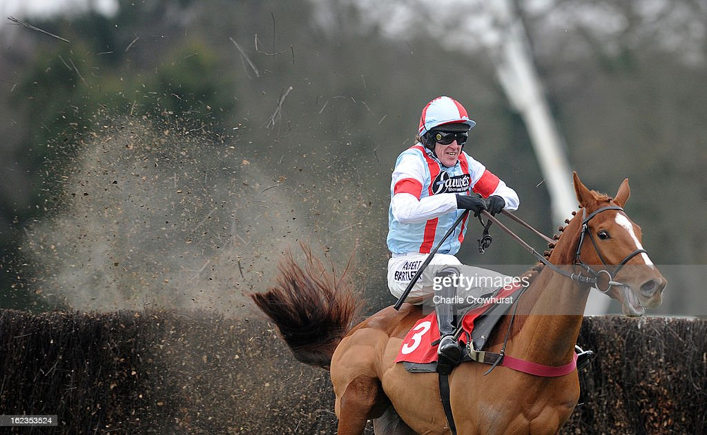 Tony McCoy just about clears the last on Kapga De Cerisy to win The Kilbrittain Castle novices steeple chase at Sandown Park racecourse on February 22, 2013 in Esher, England.