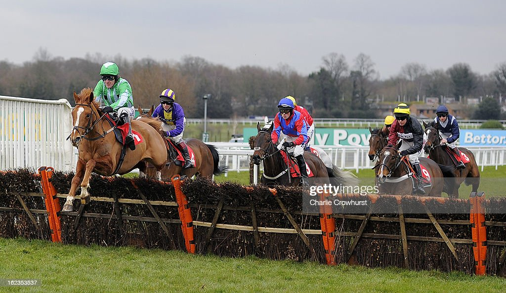 Tony McCoy leads the races first time round on Shotavodka during The Chris Baker's 40th birthday hurdle race at Sandown Park racecourse on February 22, 2013 in Esher, England.