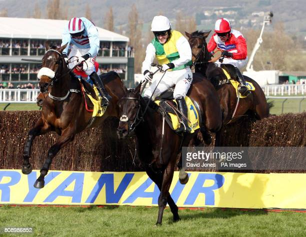 Tony McCoy on Albertas Run clears the last to win the Ryanair Steeple Chase during St Patrick's Day at Cheltenham Racecourse