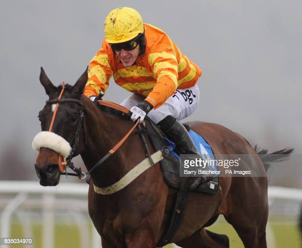 Tony McCoy on Jokers Legacy finishes in second position in the Deane Veterinary Centre Novices' Hurdle at Taunton Racecourse Somerset