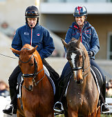 Tony McCoy receives a dressage lesson from Charlotte Dujardin as they attend Countryside Day of The Open meeting at Cheltenham Racecourse on November...