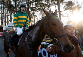 Tony McCoy riding Carlingford Lough return after winning The Hennessey Gold Cup at Leopardstown racecourse on February 08 2015 in Dublin Ireland