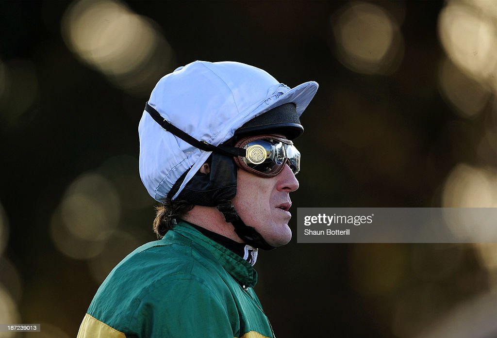 Tony McCoy riding Church Field in the saddling enclosure before the Agetur UK Handicap Hurdle Race on November 7, 2013 in Towcester, England.