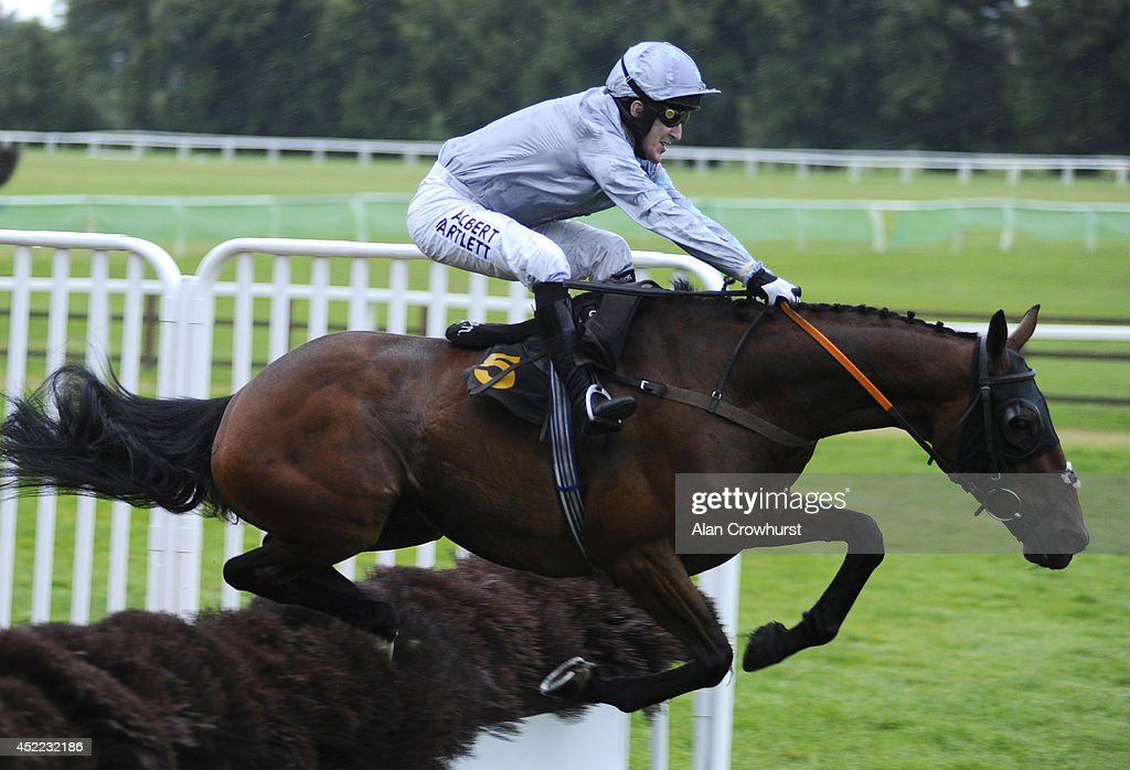 Tony McCoy riding Crannaghmore Boy finish down the field in The Selling Handicap Hurdle Race at Worcester racecourse on July 16, 2014 in Worcester, England.