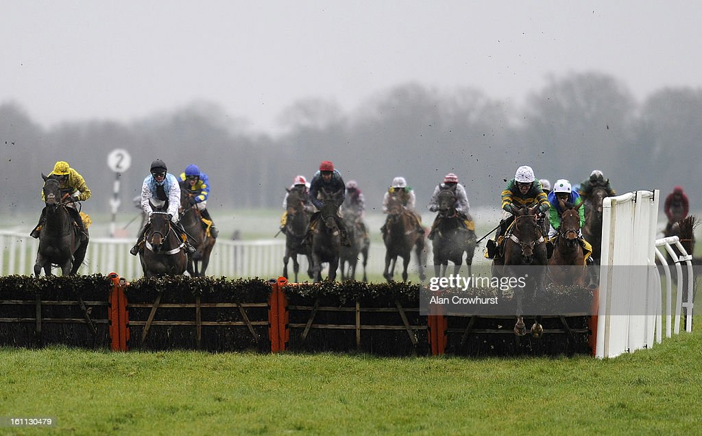 Tony McCoy riding My Tent Or Yours (R) clear the last to win The Betfair Hurdle Race at Newbury racecourse on February 09, 2013 in Newbury, England.