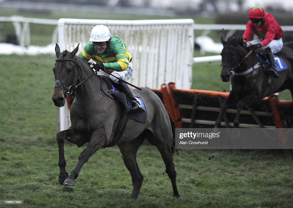 Tony McCoy riding Shutthefrontdoor clear the last to win The Higos Insurance Services Ltd Crewkerne 'National Hunt' Novices' Hurdle Race at Wincanton racecourse on January 17, 2013 in Wincanton, England.