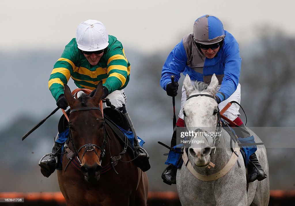 Tony McCoy riding Thunderstorm (L) and James Banks riding Tashali (R) in action during 'The Bathwick Tyres Handicap Hurdle Race' at Taunton Racecourse on February 28, 2013 in Taunton, England.