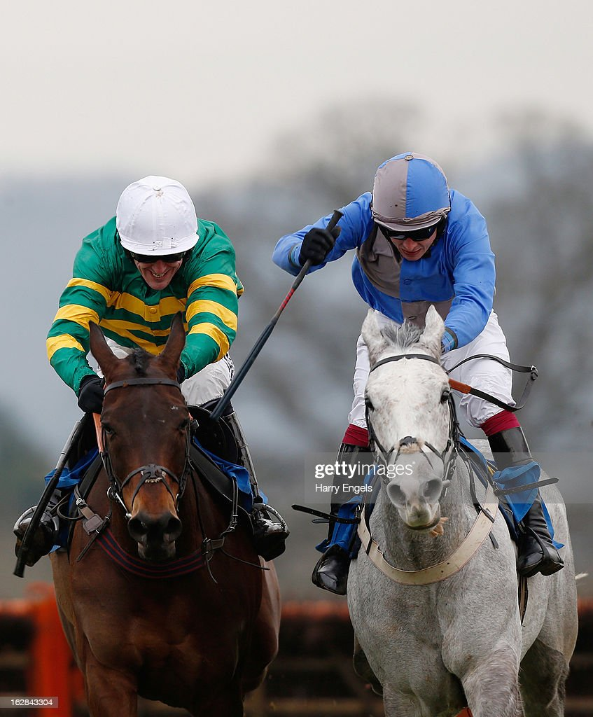Tony McCoy riding Thunderstorm (L and James Banks riding Tashali (R) in action during 'The Bathwick Tyres Handicap Hurdle Race' at Taunton Racecourse on February 28, 2013 in Taunton, England.