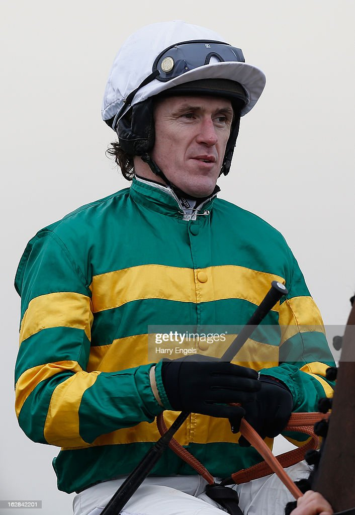Tony McCoy riding Thunderstorm prior to 'The Bathwick Tyres Handicap Hurdle Race' at Taunton Racecourse on February 28, 2013 in Taunton, England.
