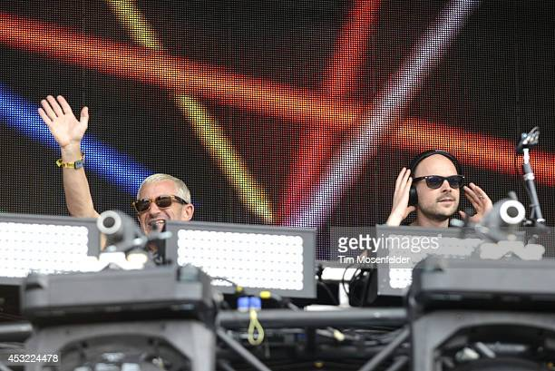 Tony McGuinness and Jono Grant of Above Beyond perform during 2014 Lollapalooza at Grant Park on August 1 2014 in Chicago Illinois