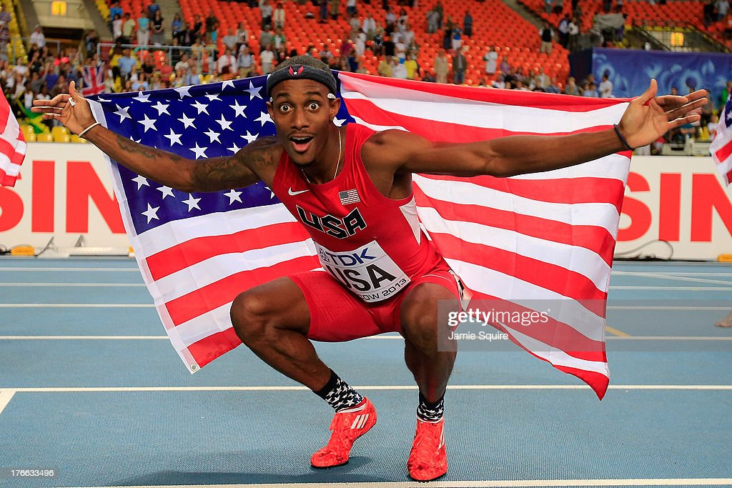 <a gi-track='captionPersonalityLinkClicked' href=/galleries/search?phrase=Tony+McQuay&family=editorial&specificpeople=7895595 ng-click='$event.stopPropagation()'>Tony McQuay</a> of the United States celebrates winning gold in the Men's 4x400 metres final during Day Seven of the 14th IAAF World Athletics Championships Moscow 2013 at Luzhniki Stadium at Luzhniki Stadium on August 16, 2013 in Moscow, Russia.