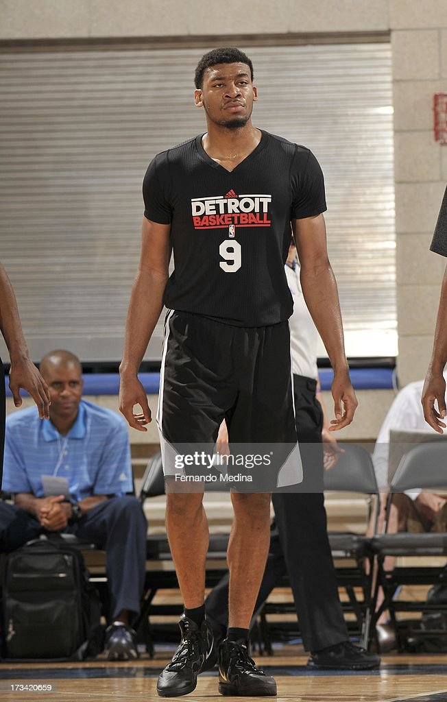 Tony Mitchell #9 of the Detroit Pistons looks on during the 2013 Southwest Airlines Orlando Pro Summer League between the Detroit Pistons and the Miami Heat on July 12, 2013 at Amway Center in Orlando, Florida.