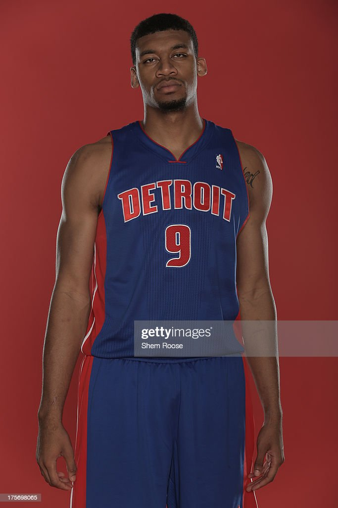 Tony Mitchell #9 of the Detroit Pistons poses for a portrait during the 2013 NBA rookie photo shoot on August 6, 2013 at the Madison Square Garden Training Facility in Tarrytown, New York.
