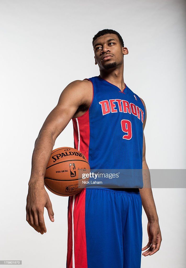 Tony Mitchell #9 of the Detroit Pistons poses for a portrait during the 2013 NBA rookie photo shoot at the MSG Training Center on August 6, 2013 in Greenburgh, New York.