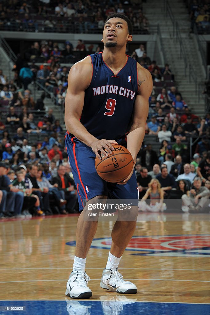Tony Mitchell #9 of the Detroit Pistons takes a free throw against the Toronto Raptors on April 13, 2014 at The Palace of Auburn Hills in Auburn Hills, Michigan.
